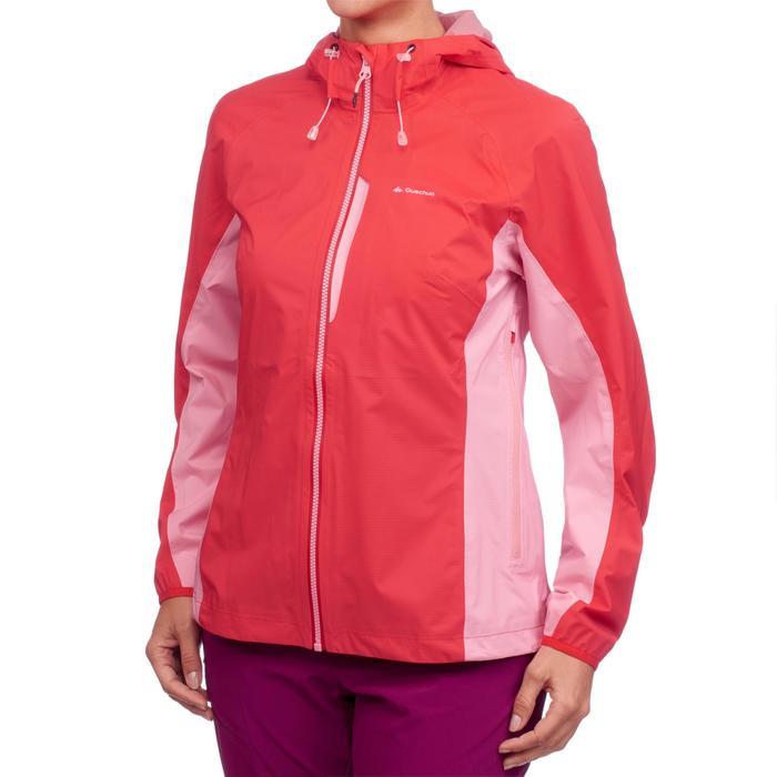 Veste imperméable de randonnée rapide Femme FH500 Helium Rain Rouge - 1285871
