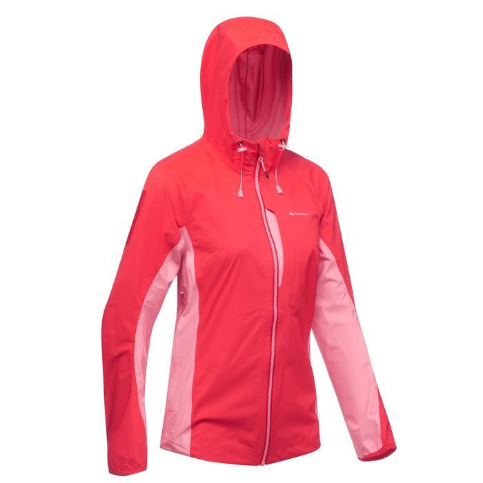 Veste imperméable de randonnée rapide Femme FH500 Helium Rain Rouge - 1285873