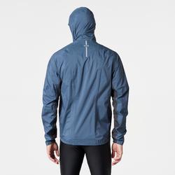 Regenjack voor traillopen heren blauw/stormgrijs