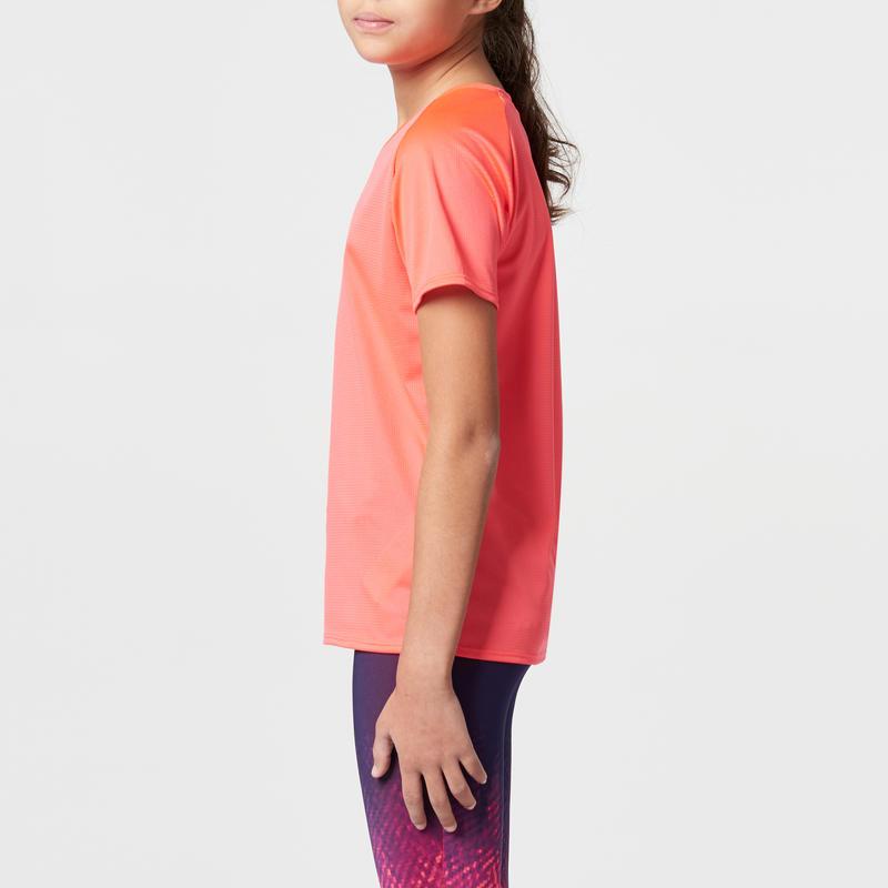 RUN DRY CHILDREN'S ATHLETICS T-SHIRT PINK FLUO CORAL