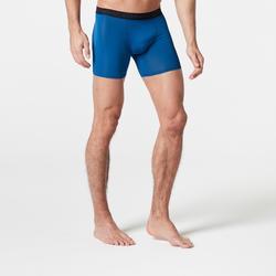 Ademende herenboxershort voor hardlopen Pruisisch blauw