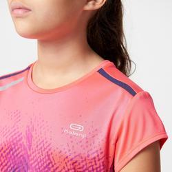 Camiseta de atletismo niño RUN DRY+ print rosa violeta