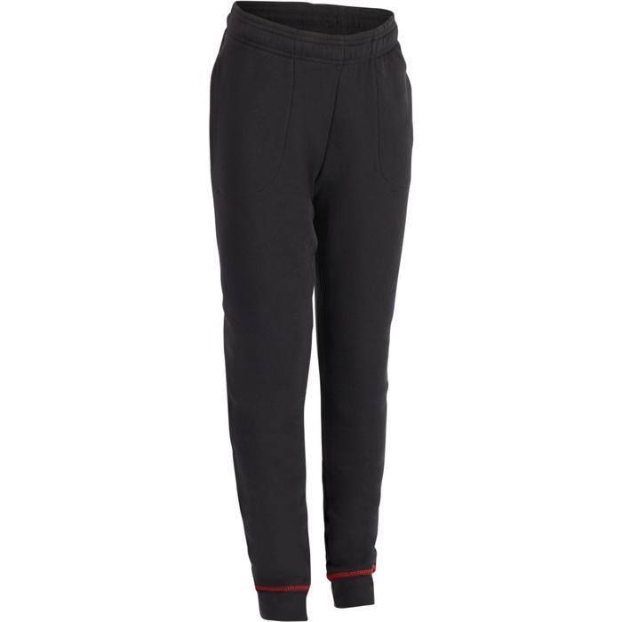 Pantalon gym fille noir orange - 1286208