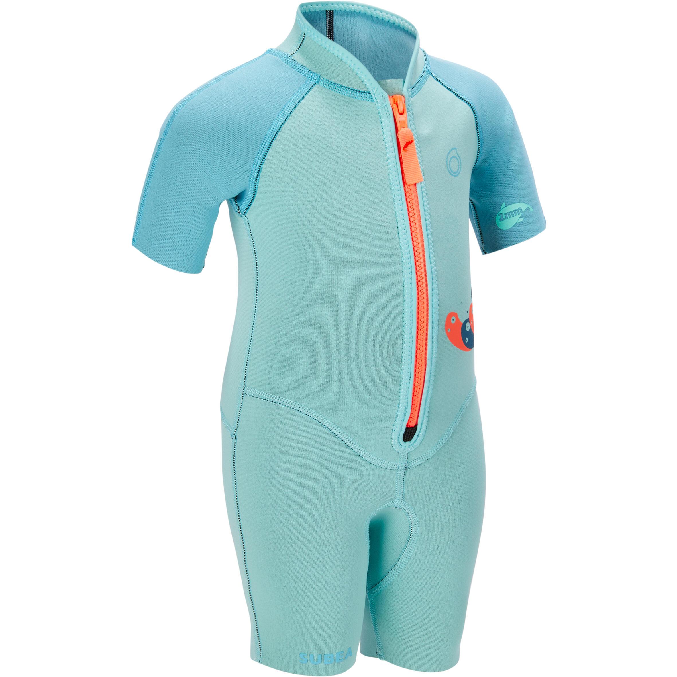 Subea Kindershorty 1,5 mm 100 voor snorkelen blauw turquoise kopen