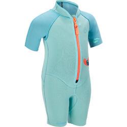 Kindershorty 1,5 mm 100 voor snorkelen blauw turquoise