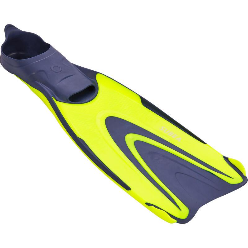 Ploutve na potápění s přístrojem SCD 500 modro-žluté fluorescenční