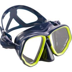 Máscara de buceo SCD 500 doble cristal, facial azul y montura amarilla flúor
