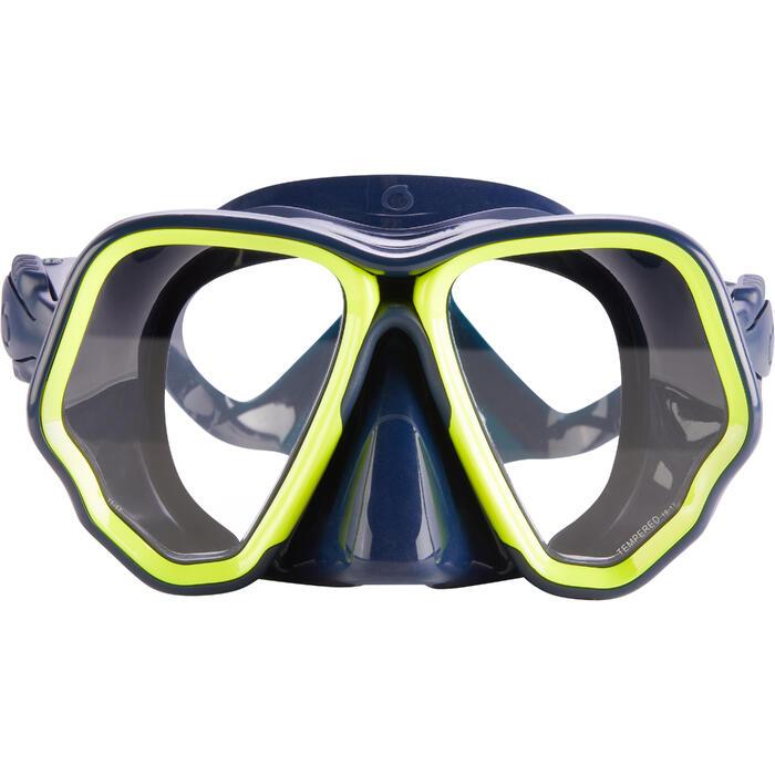 Masque de plongée sous-marine en bouteille SCD500 jupe bleue cerclage jaune fluo