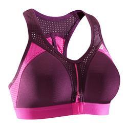 Power 拉鏈式短版上衣 - 紫紅