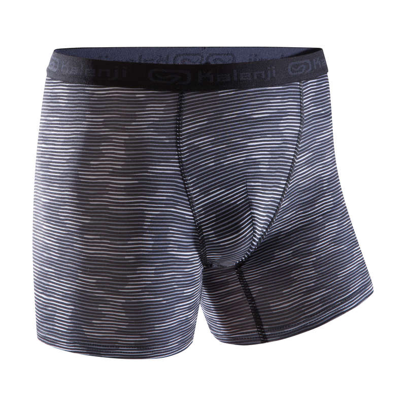 MAN RUNNING UNDERWEAR Running - Breathable Boxers Camo Grey KALENJI - Running Clothing