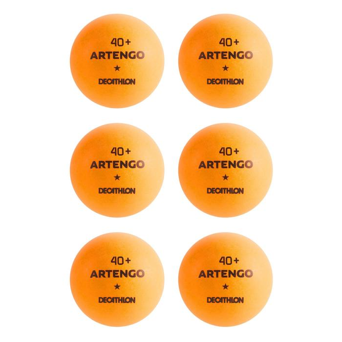 BALLES DE TENNIS DE TABLE TTB 100 1* 4+ X6 ORANGE - 1286406