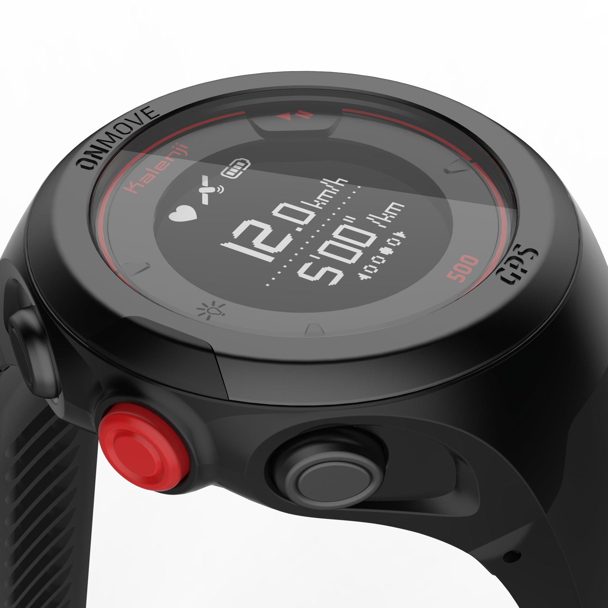 Montre GPS cardio au poignet de course à pied OnMove 500 noire