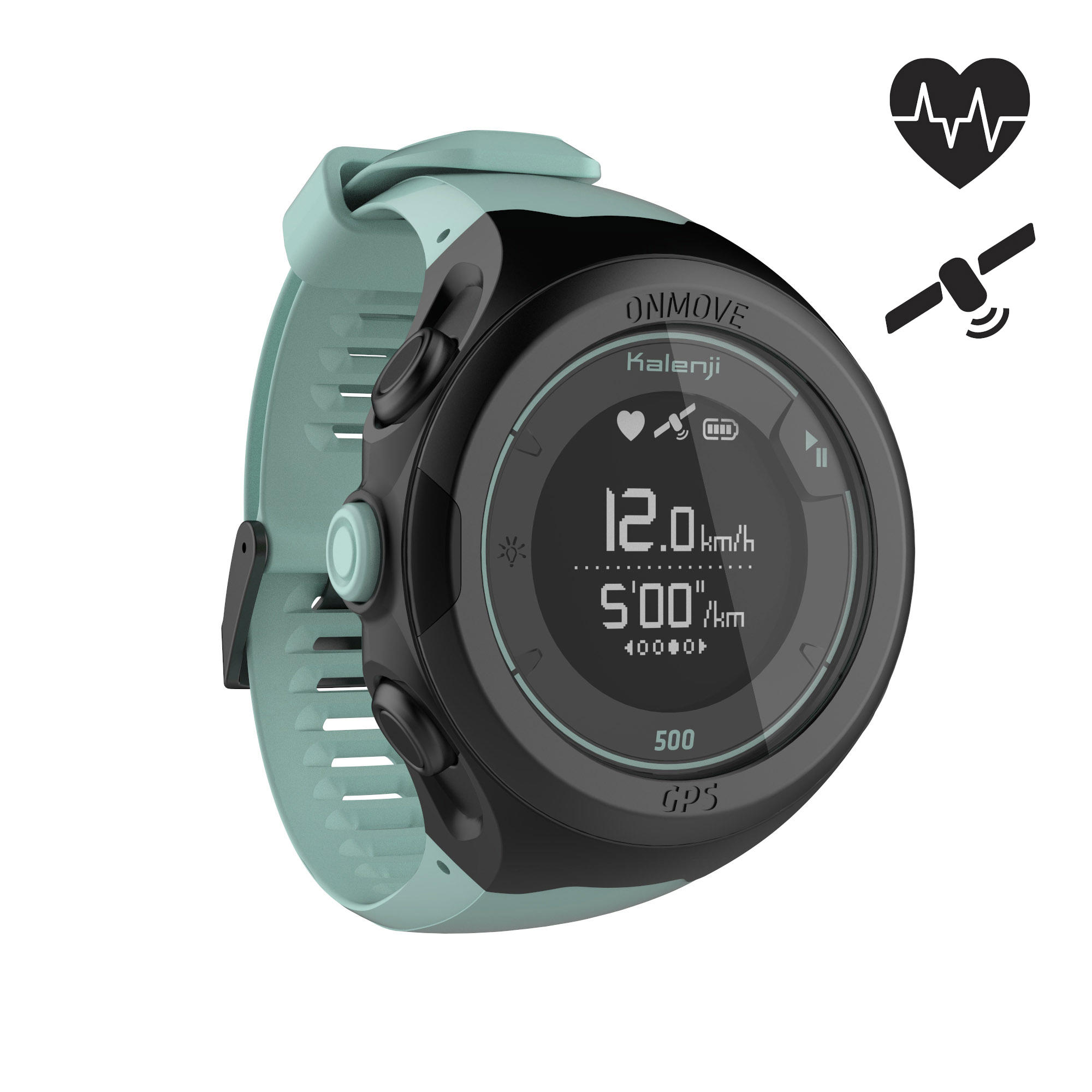 Reloj GPS monitor cardíaco de muñeca para running ONMOVE 500 verde