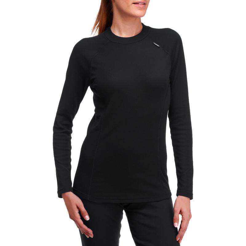 Camiseta interior de ski mujer 100 negra
