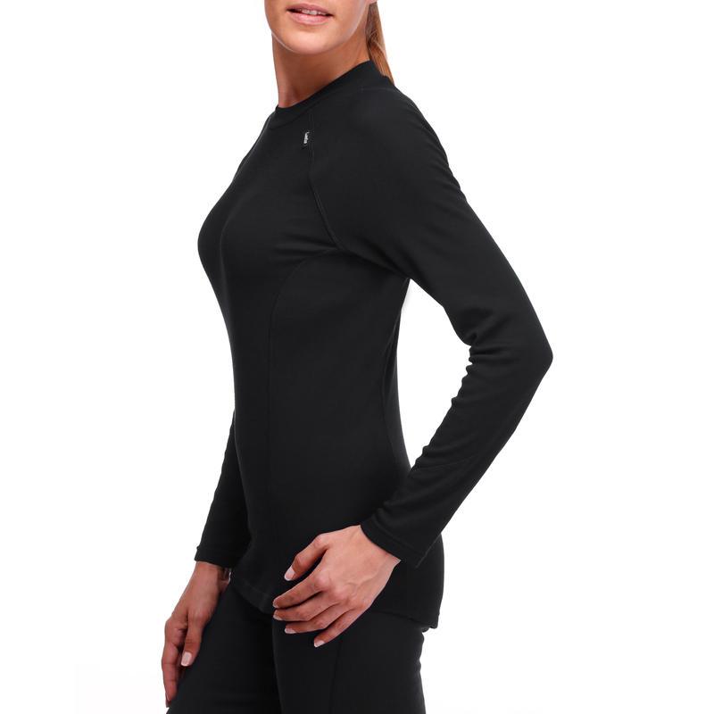 เสื้อตัวในผู้หญิงสำหรับใส่เล่นสกีรุ่น Simple Warm (สีดำ)