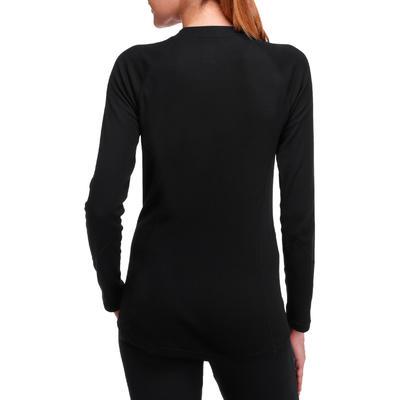 Жіночий верх термобілизни 100 для катання на лижах - Чорний