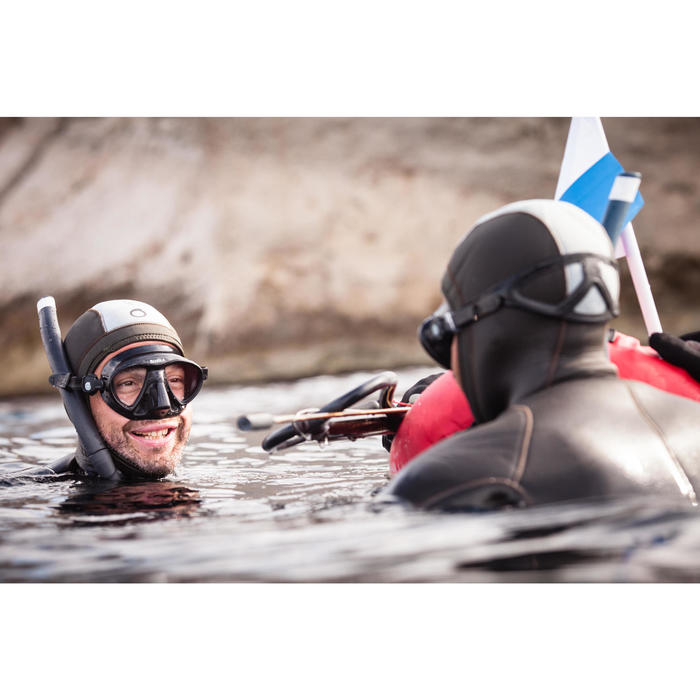 Soepele snorkel SPF 500 voor harpoenvissers die vrijduiken