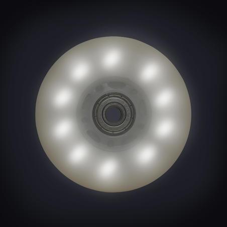 Ens. 2 ROUES LUMINEUSES et ROULEMENTS patin 84MM 82A blanches lumière bleue