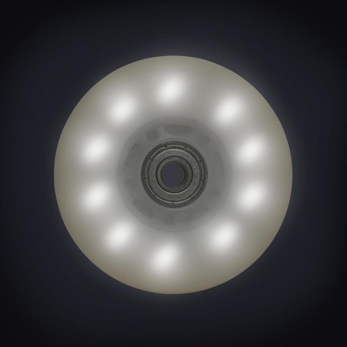 Set 2 lichtgevende wielen en lagers voor skeelers 84 mm 82A wit / blauw licht