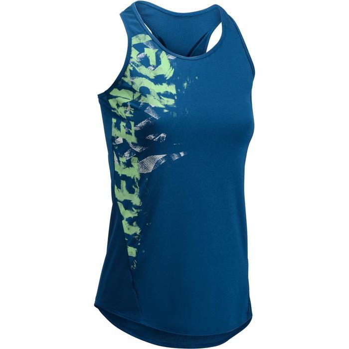 Cardiofitness top 120 voor dames blauw met print Domyos