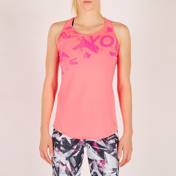 Fitnesstopje Cardio 120 dames roze met prints Domyos