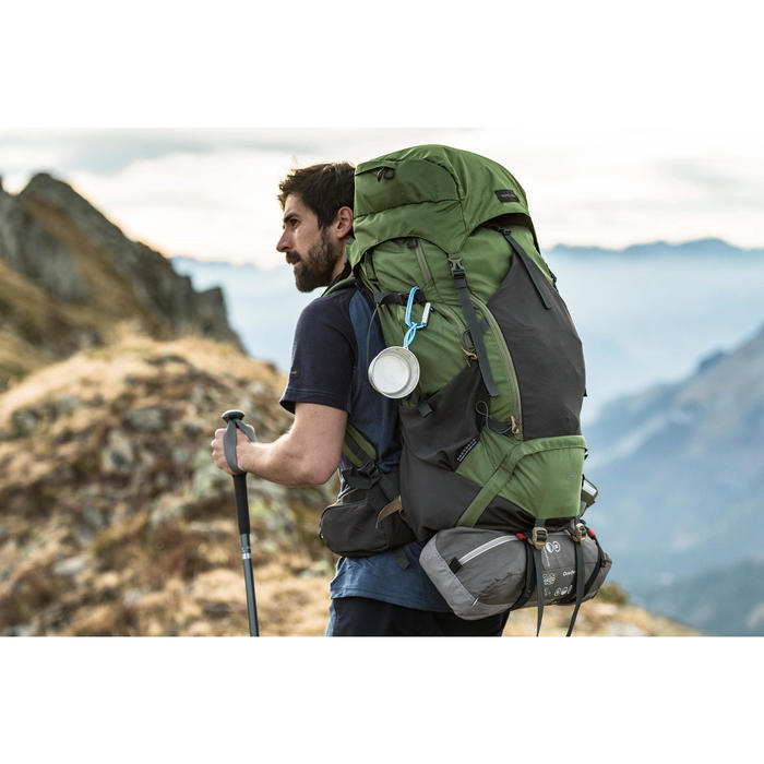 T-shirt manches courtes trekking montagne TREK 500 wool homme bleu