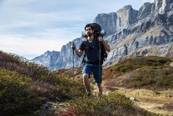 Men's Mountain Trekking Short-Sleeved Merino T-Shirt Trek 500 - Blue