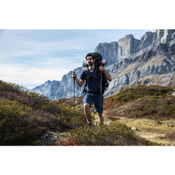 T-shirt mérinos trekking montagne TREK500 manches courtes homme bleu
