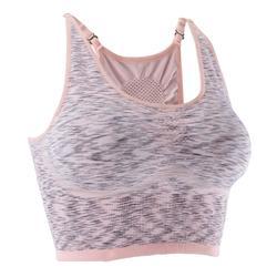 Sujetador-top YOGA reversible sin costura mujer rosa jaspeado