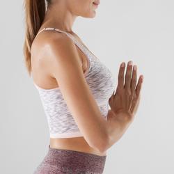 Top sujetador Deportivo Yoga Dinámico Domyos 500 Mujer Rosa/Gris Sin Costuras