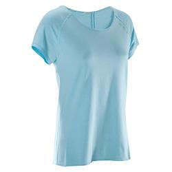 Tee-shirt yoga doux femme en coton issu de l'agriculture biologique bleu clair