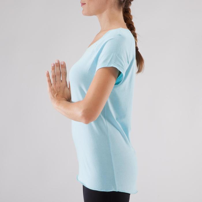 T shirt yoga doux femme en coton issu de l'agriculture biologique noir - 1288044