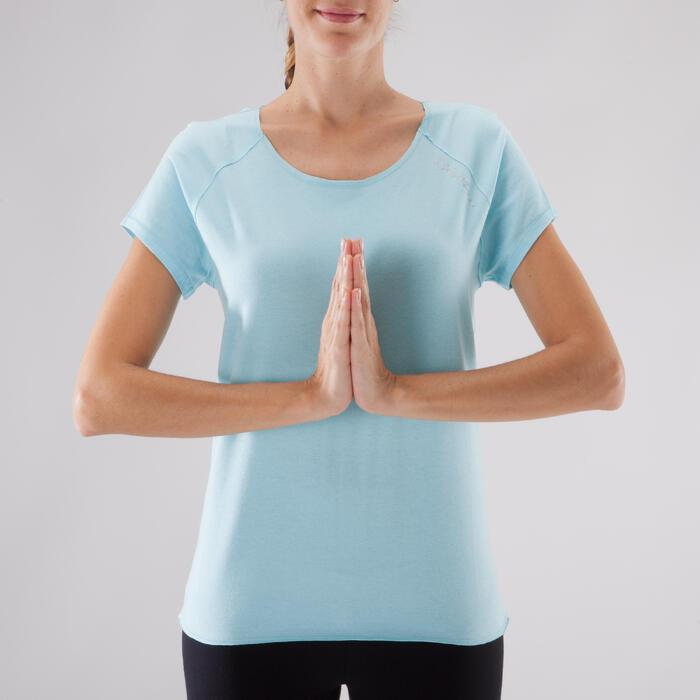 T shirt yoga doux femme en coton issu de l'agriculture biologique noir - 1288049
