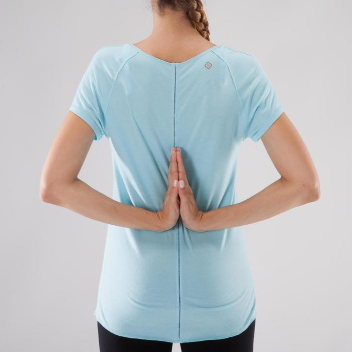 T shirt yoga doux femme en coton issu de l'agriculture biologique noir - 1288050