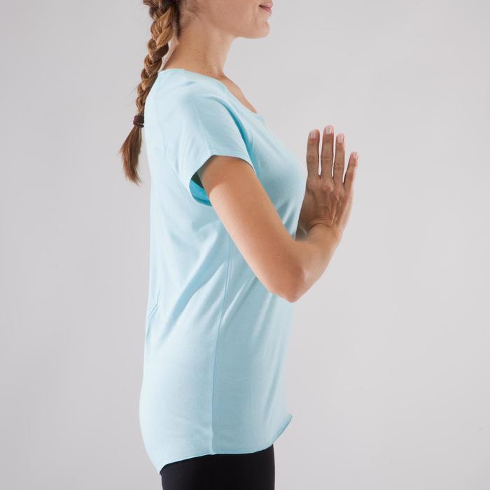 Camiseta yoga suave mujer algodón de cultivo biológico azul claro