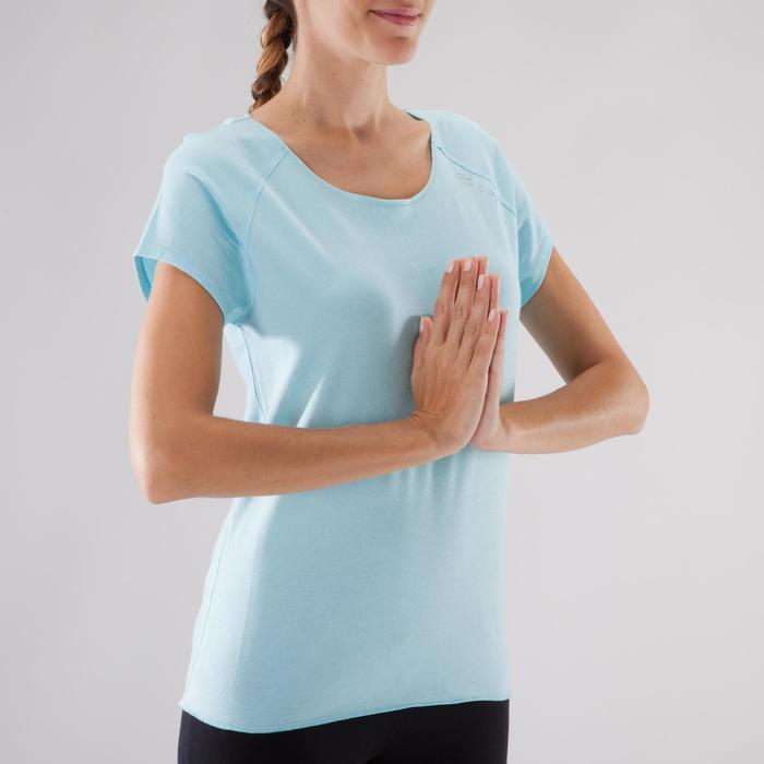 T shirt yoga doux femme en coton issu de l'agriculture biologique noir - 1288052