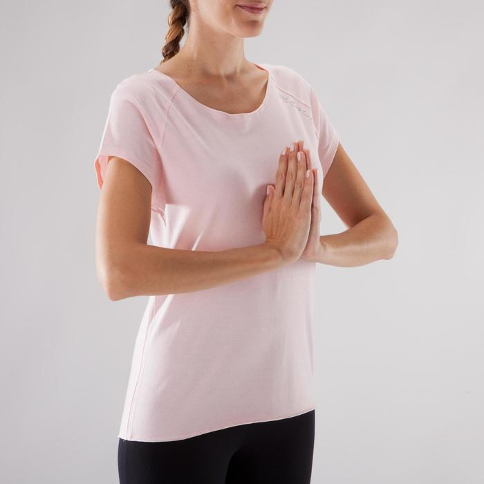 T shirt yoga doux femme en coton issu de l'agriculture biologique noir - 1288056