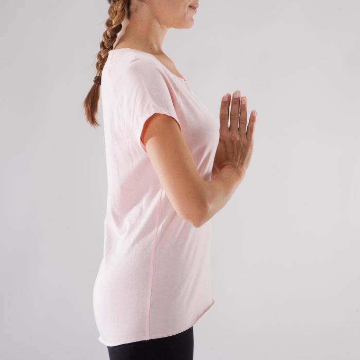 T shirt yoga doux femme en coton issu de l'agriculture biologique noir - 1288059