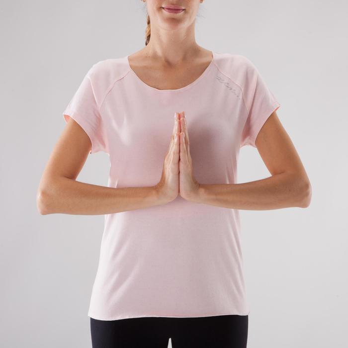 T shirt yoga doux femme en coton issu de l'agriculture biologique noir - 1288062
