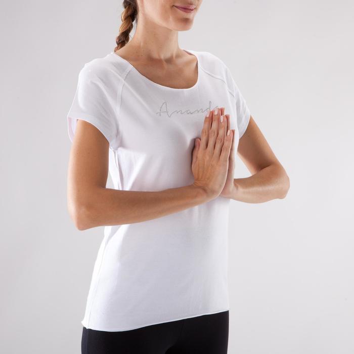 T shirt yoga doux femme en coton issu de l'agriculture biologique noir - 1288070