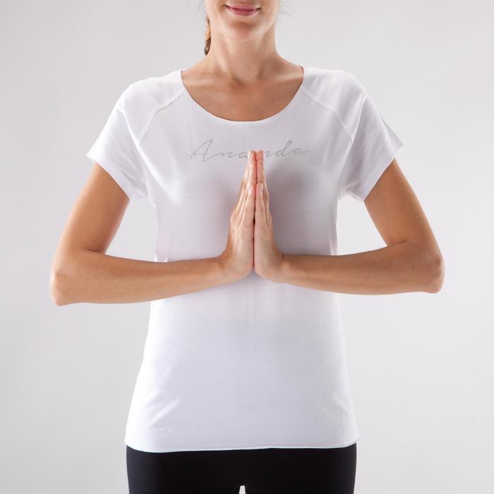 T shirt yoga doux femme en coton issu de l'agriculture biologique noir - 1288074