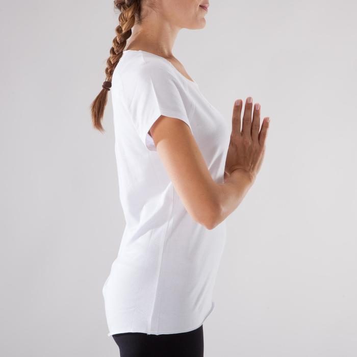 T shirt yoga doux femme en coton issu de l'agriculture biologique noir - 1288075