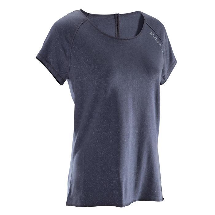 T shirt yoga doux femme en coton issu de l'agriculture biologique noir - 1288084