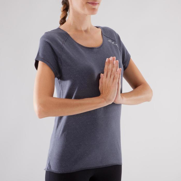T shirt yoga doux femme en coton issu de l'agriculture biologique noir - 1288087