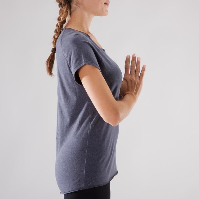 T shirt yoga doux femme en coton issu de l'agriculture biologique noir - 1288090