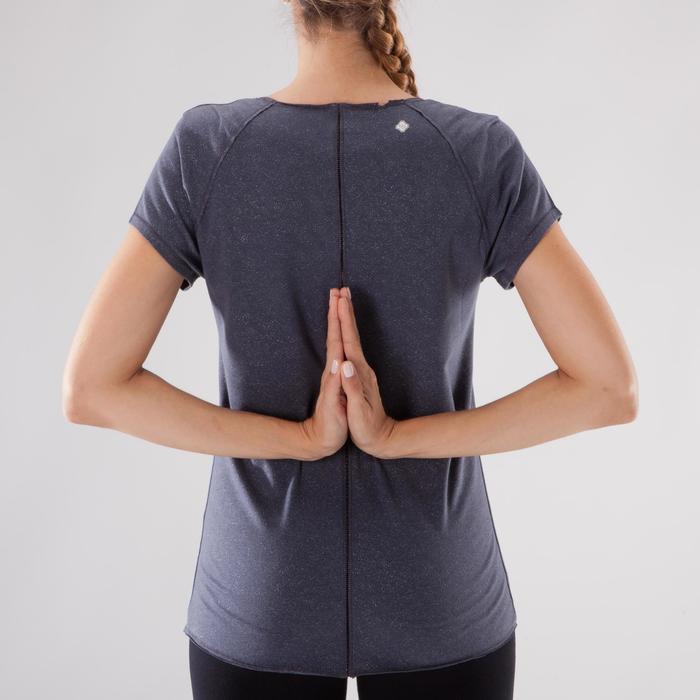 T shirt yoga doux femme en coton issu de l'agriculture biologique noir - 1288093