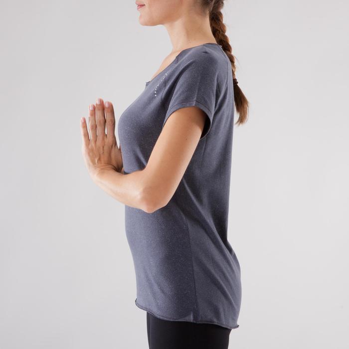 T shirt yoga doux femme en coton issu de l'agriculture biologique noir - 1288095