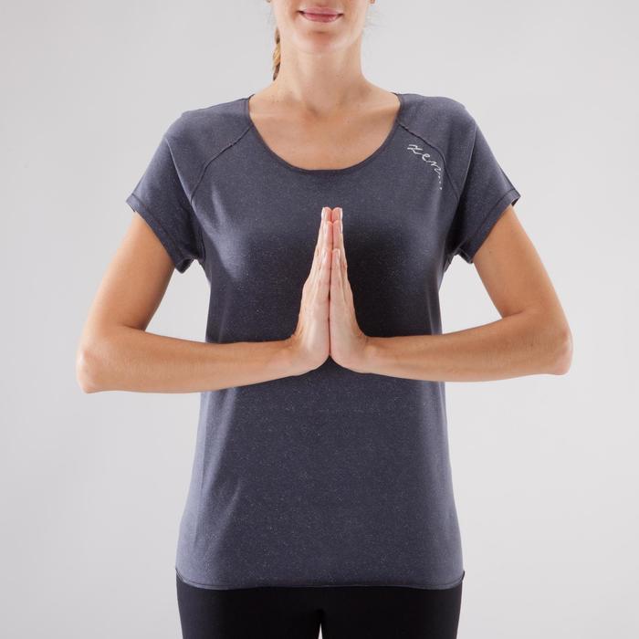 T shirt yoga doux femme en coton issu de l'agriculture biologique noir - 1288098