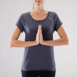T-Shirt Katun Organik Yoga Ringan Wanita- Abu-abu