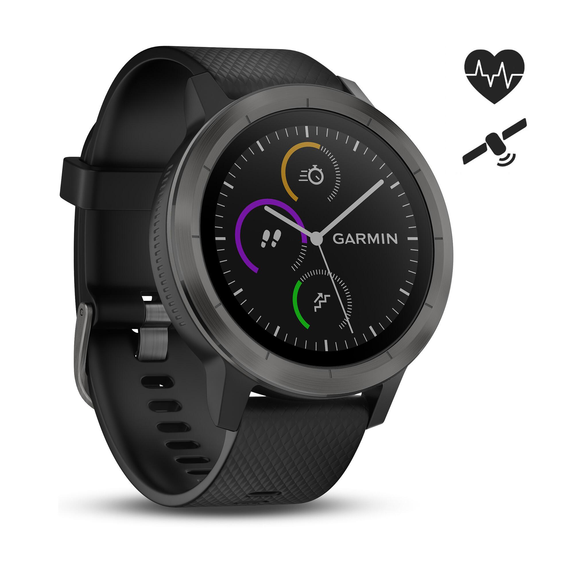 Smart-Watch Vivoactive 3 schwarz/schiefer Herzfrequenzsensor GPS | Uhren > Smartwatches | Garmin